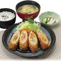野菜ロールカツ定食